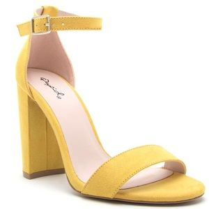 """Qupid Shoes - Faux Sde YELLOW 4"""" basic single +ankle strap HEEL"""